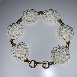 Vintage Celluloid White Flower Bracelet
